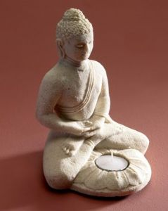 Sculpture~ Hippy Bohemian White Sand Hand Carved Buddha Tealight Holder~ By Folio Gothic Hippy BU11